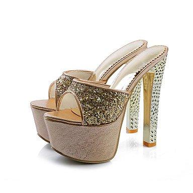 LFNLYX Donna pantofole e flip-flops Estate Slingback Comfort Glitter party di nozze & abito da sera Stiletto Heel Argento oro rose rosa a piedi Silver
