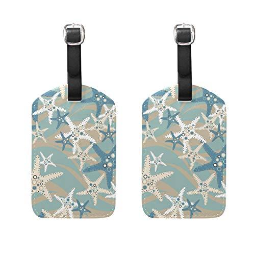 ger Seestern Blau Weiß Meer Welle Gepäck Tags Reiseetiketten Koffer Bag Tag mit Namens-Adresskarten 2 Stück Set ()