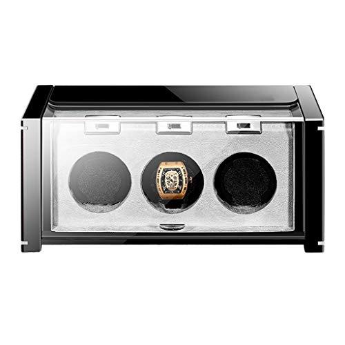 Fila Horizontal de 3 Reloj Watch Winder Reloj mecánico automático Caja de Almacenamiento de energía...