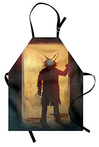 ABAKUHAUS Fantasie Kochschürze, Furchtsame Person mit Kaninchen-Maske an der Tür-geistigen Leute-Acrylfarben-Druck, Farbfest Höhenverstellbar Waschbar Klarer Digitaldruck, Gelb Schwarz