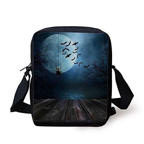 ZKHTO Halloween Decorations,Misty Lake Scene Rusty Wooden Deck Spider Eyeball and Bats Moonlight,Blue Brown Print Kids Crossbody Messenger Bag Purse