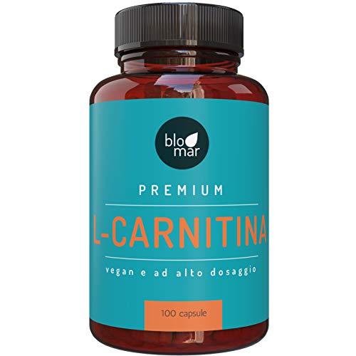 L-carnitina ad alto dosaggio - 100 capsule - made in germany - qualità testata - sport, fitness e controllo del peso - capsule vegane di blomar
