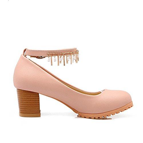 VogueZone009 Femme Rond à Talon Correct Matière Souple Mosaïque Boucle Chaussures Légeres Rose