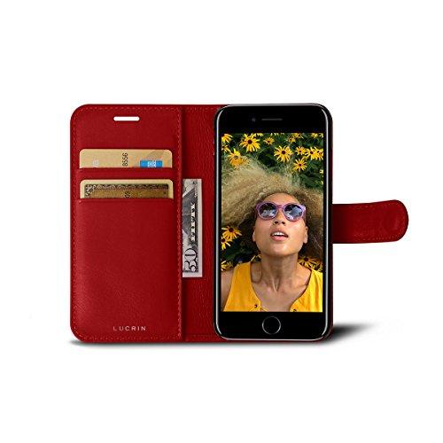 Lucrin - Étui Portefeuille iPhone 8/7 - Violet - Cuir Lisse Rouge