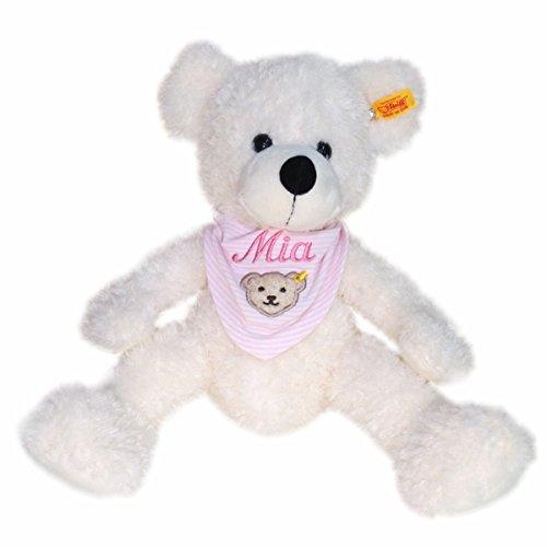 Steiff Teddybär Lotte mit Wunschnamen auf Steiff Collection Halstuch Gr. II rosa bestickt 40 cm 111778 + 6600