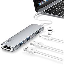 Hub USB C Bqeel a 2 porte USB 3.0+ 1 uscita HMDI+ 1 porta USB C(Power Delivery), Shuttle USB 3.1Tipo C per i dispositivi USB tipo C inclusi il New Macbook, Macbook Pro 2016 (Grigio)