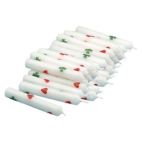 5er Pack Geburtstagskerzen weiß mit Herzen und Kleeblättern (5 x 5 Stück), Kerzen für Holzkranz, Kerzen für Geburtstagszug ca. 14 x 100 mm
