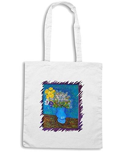 T-Shirtshock - Borsa Shopping TDA0092 van gogh44 vaso con lilla margherite ed anemoni Bianco