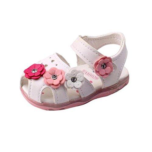 IMJONO Chaussures Fille, Chaussures de Bébé Bambin Nouvelles Fleurs Filles Sandales Allumées Soft-Soled Princesse (1-2 Ans, Blanc)