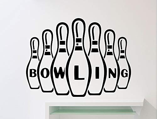 zhuziji Special Design Bowling Wall Decal Sign Pattern Interior Sport Wall Stickers Vinyl Bowling Ball Club Removable Logo Decor 42x56cm