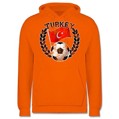 EM 2016 - Frankreich - Turkey Flagge & Fußball Vintage - Männer Premium Kapuzenpullover / Hoodie Orange