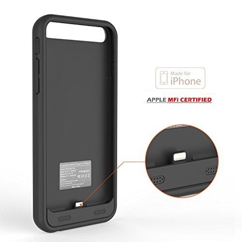 [Apple MFi Zertifiziert] MoKo Ultra Dünn 3100mAh Power Bank Akku Hülle Aufladbare Externe Batterie Ladehülle Backup Accu Charging Battery Case Cover für Smartphone Apple iPhone 6 6S 4.7 Zoll,Schwarz Schwarz