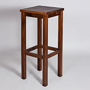 Barhocker hocker krasi h77cm massiv kiefer holz braun for Barhocker kiefer