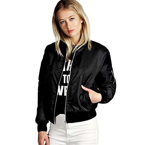 Veste/Blouson/ Jacket Bomber Femme Nouvelles,Reaso Mode Manteau Mince Biker Moto Zipper Souple Court (XL, Noir)
