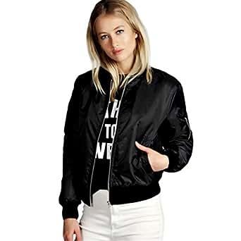 Reaso Veste/Blouson/ Jacket Bomber Femme Nouvelles, Mode Manteau Mince Biker Moto Zipper Souple Court (S, Noir)