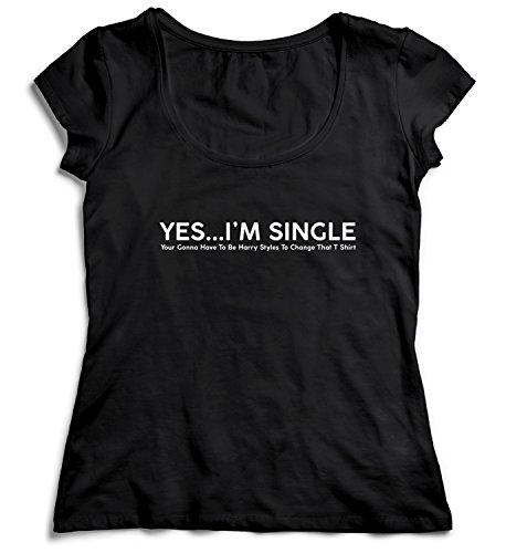 MYMERCHANDISE Yes I\'m Single Harry Styles to Change Damen T-Shirt Black Men\'s Shirt Baumwolle Cotton Damen MD Women Black T-Shirt