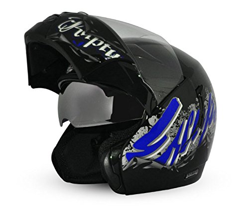 Vega Boolean Escape BLN-ESC-KMB-M Flip-up Graphic Helmet with Double Visor (Black and Blue, M)