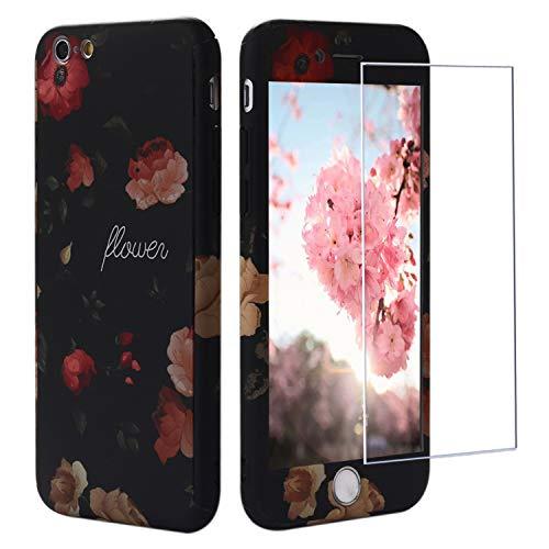 iPhone 6s Hülle Blumen, iPhone 6 Hülle 360 Grad mit Panzerglas, ZXK CO 3 in 1 Hart PC Hülle mit Panzerglas Full Body Komplettschutz Schutzhülle für iPhone 6/6s 4,7