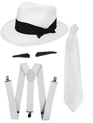 I LOVE FANCY DRESS Gangster Kostüm der 1920er Reihe -Zubehör Set Deluxe-Weiß Hosenträger + Weiße Krawatte + Schwarzer Spiv/Schnurrbart + Weißer Trilby-Hut