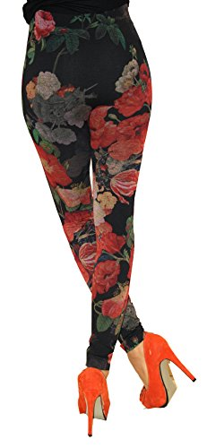 Leggings warme in Jeans Baumwolle Loock Optik Super Stretch Weich Betonte Schwarz Blume