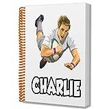 Cadeau personnalisé - joueur de rugby - Carnet A5 - Carnet - Anniversaire - Noël - Remplissage de chaussette - Père Noël secret - Ajoutez n'importe quel nom
