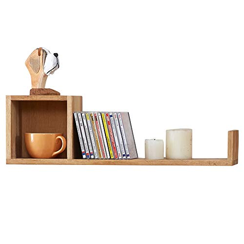 INMAN HOME Massives Eichenholz, Würfel-Form, Wandregal, Bücherregal, kreative Gitter, schwebendes CD-Rack, Foto-Display, Holz, Eiche, Links (Eiche Display-box)