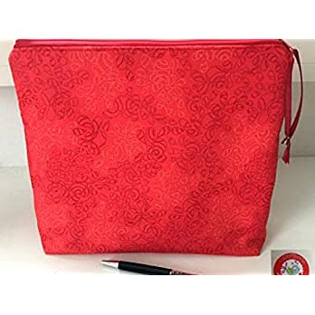 Projekttasche – Kulturbeutel – Tasche – Blumen/Ranken – rot
