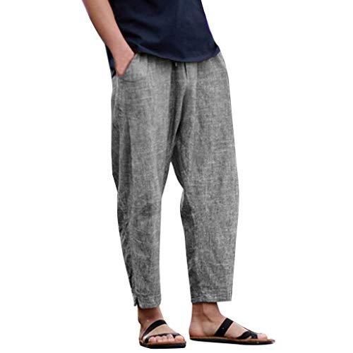 Innerternet Pantaloni di Lino Uomo Baggy Casual Pantalone Pantaloni Harem a Nove in Cotone e Lanterna Lino Taglie Forti Leggeri Corti Vita Alta