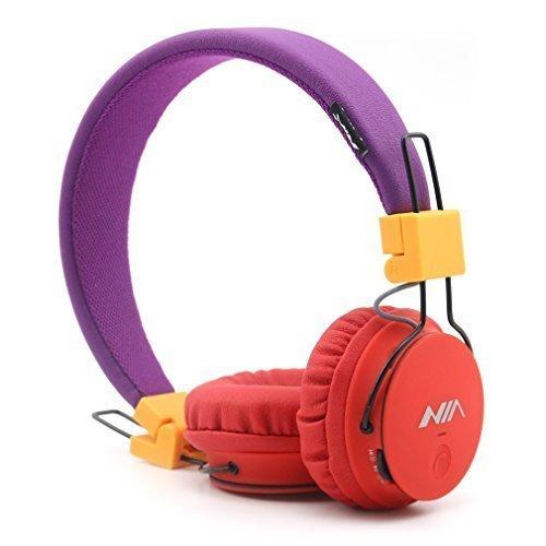 GranVela® X2 auriculares Bluetooth más de la oreja, plegable 4 en 1 estéreo niños auricular inalámbrico de auriculares manos libres con micrófono y MicroSD Card Player, Radio, AUX para iPhone, Samsung y más (rojo y