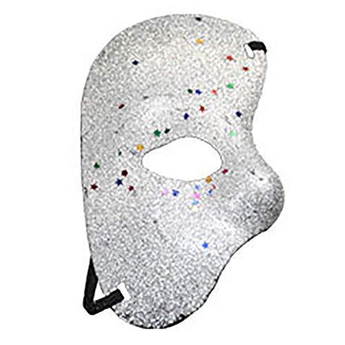 Maske Maskerade Prom Maske Weihnachten Halloween Party Plastikmaske Opera Phantom Ball Goldpuder Halbe Gesichtsmaske (Farbe: Weißgoldpuder)