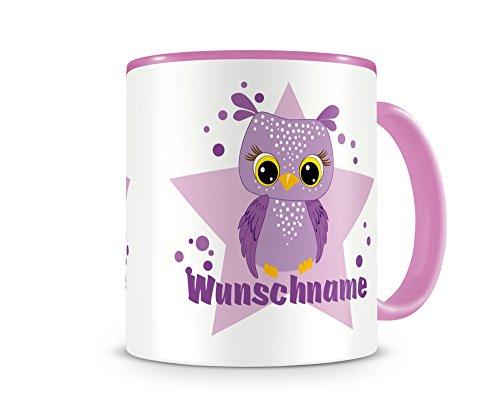 plot4u Kinder-Tasse mit Namen und einer lila Eule als Motiv Bild Kaffeetasse Teetasse Becher...
