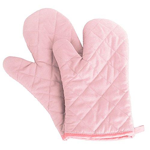 Gosear 1 paar Topflappen Backen Kochen Baumwoll-Handschuh Mikrowellen-Ofen Hitzebeständige Handschuhe Fäustlinge Pink Mikrowellen-ofen-fäustlinge