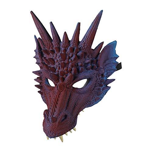 Koisy Halloween Maske 3D Drache Cosplay Kostüm für Männer Frauen Karneval Party Mardi Gras (Mardi Gra Kostüm Männer)