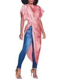 TOOGOO Nuove donne autunno estate Split manica corta cravatta abito lungo  Design personalita  irregolare Moda donna abito sottile Slim… 86e99d0c3ce