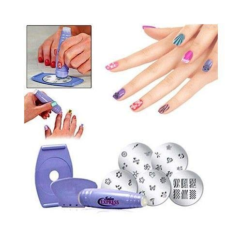 Kit nail art decorations peintures vernis ongles 34 motifs racloir salon express