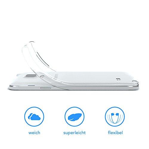 Samsung Galaxy Note 4 Hülle - EAZY CASE Ultra Slim Cover Handyhülle - dünne Schutzhülle aus Silikon in Transparent Clear Transparent