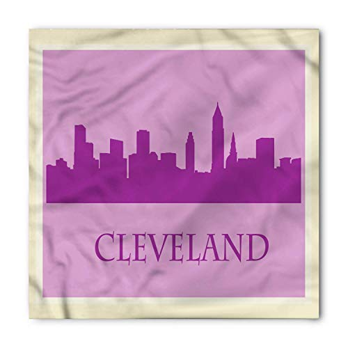Cleveland Bandana, Purple Tones Cityscape, Unisex Head and Neck Tie,Unisex Bandana Head and Neck Tie Neckerchief Headdress Silk-Like 100% Polyester -S
