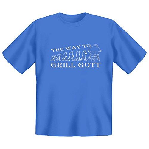Grillshirt: The way to Grill Gott - grillen T-Shirt Fb skyblue Sky-Blue