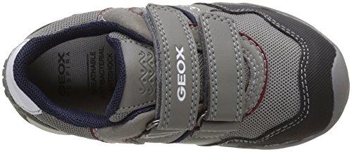 Geox Jr Arno A, Scarpe da Ginnastica Basse Bambino Grigio (Grey/dk Redc1102)