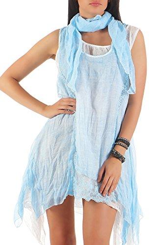 malito Sommerkleid inkl. Halstuch Strandkleid 7503 Damen One Size Hellblau