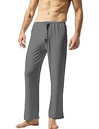ZSHOW Pantalones de Yoga para Hombre de Algodón Pantalones Largo de Pijama 200ebd0f824
