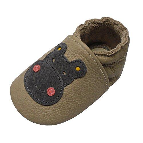 Yalion Leder Hausschuhen Krabbelpuschen Babyschuhen mit Wildledersohlen und Tiger Nashorn - Khaki,18-24 Monate
