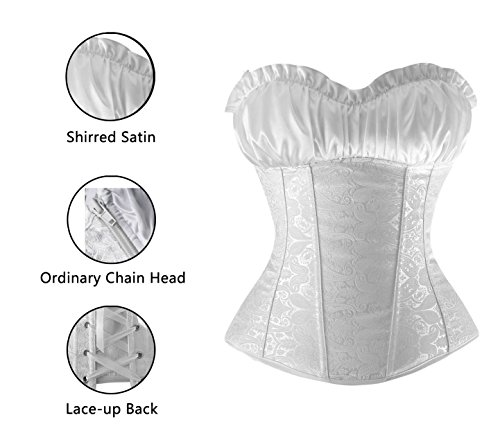 Charmian Women' Lace Up Boned Bustier Renaissance Top Wedding Bridal Corset Bianco