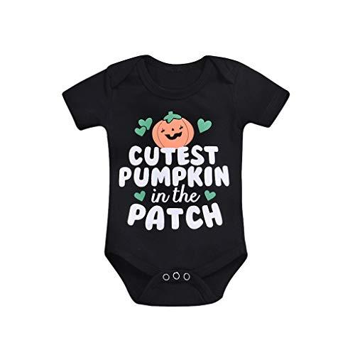 YCQUE VitalitäT Baby Neugeborenes Baby MäDchen Jungen Brief Print Strampler Baumwolle Weiche Jumpsuit Halloween Outfits: Niedliche KüRbis-Short Sleeve Body Done Baby Body