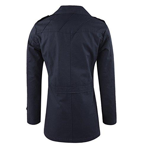 West See Herren Männer Mantel Jacke Trenchcoat Lang Langarm College jacke Blau
