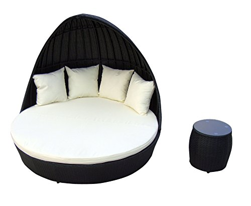 Baidani Fantasy Rattan Lounge-Doppelliege, Schwarz, 178x178x93 cm