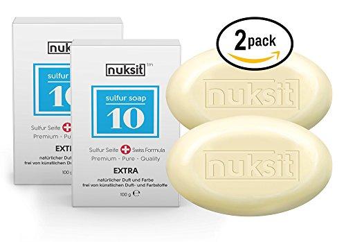 2Stück je 100gr Nuksit Schwefel Seife 10%-Nuksit 10% Sulfur Soap Schwefel Seife, ideal für problematische Haut unreine Haut, Pickel und Mitesser,Fussgeruch,für Körper und Gesicht Männer,Frauen&Teens,