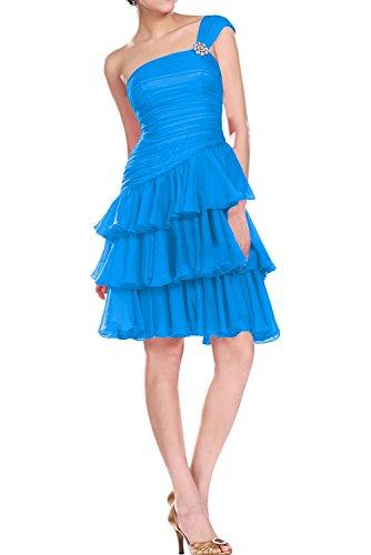 Gorgeous Bride Beliebt Knielang Chiffon Ein-Träger A-Linie Abendkleider Kurz Cocktailkleider Ballkleider Blau