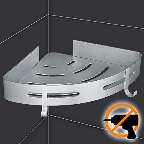 Wangel mensola ad angolo per doccia bagno, colla brevettata + autoadesivo, alluminio, finitura opaca
