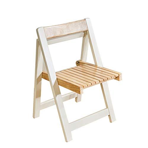 Chaise Fauteuil Siège Chaises Chair Bois Massif extérieur Loisirs Dossier Chaise de Pause déjeuner Ménage Simple Moderne Tingting (Couleur : Blanc, Taille : 46 * 50 * 72)